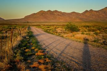 Painted Pony Resort road at sunset
