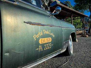 Portal Peak Lodge car door