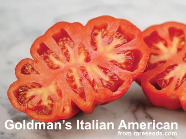 Goldmans italian american tomato sliced in half