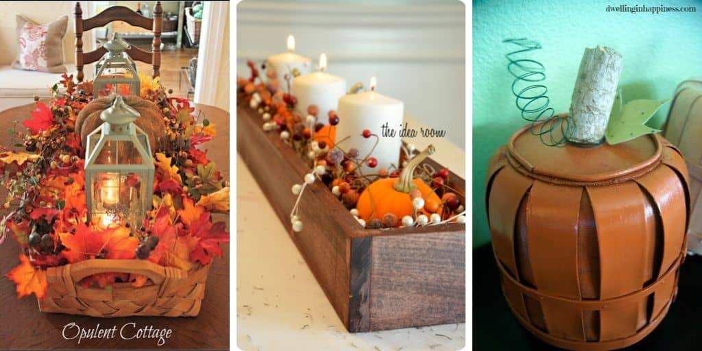Fall decorating basket ideas collage 2