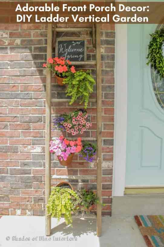 DIY vertical garden for front porch using a ladder