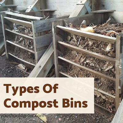 Types of compost bins for composting at home.