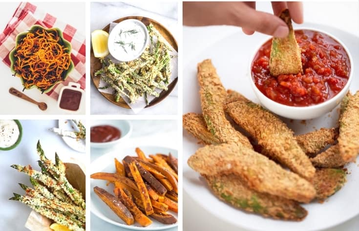 Picture collage of 5 different types of veggie fries