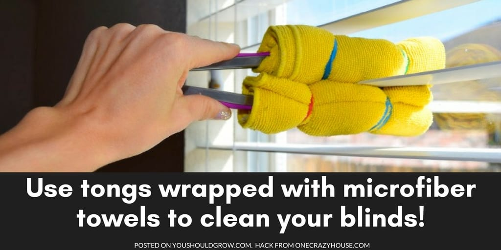 Cleaning Hack from One Crazy House: Use microfiber towels around kitchen tongs to dust your blinds.