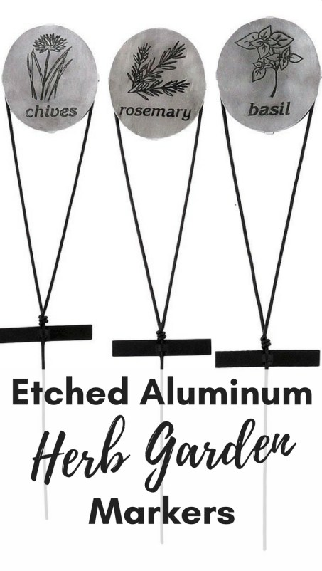Garden markers. Garden decor: etched aluminum herb garden markers