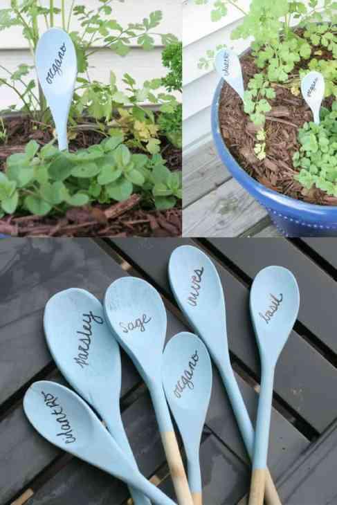 Garden markers. Garden decor. Painted wooden spoons.