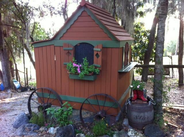 Wagon style chicken coop from playhouse