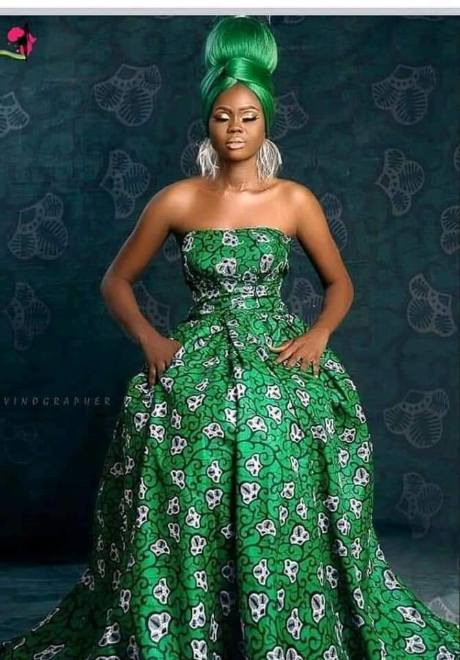 off shoulder green and white ankara style