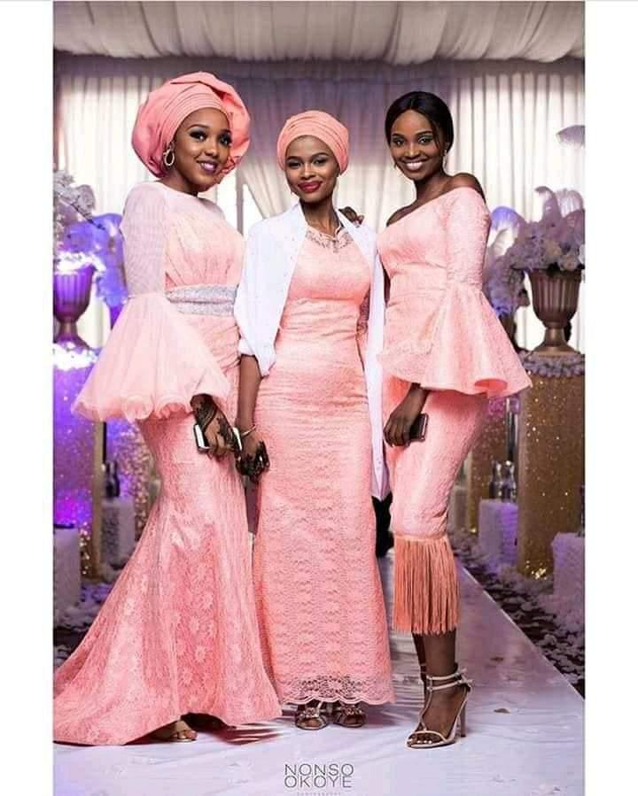 peach asoebi lace styles