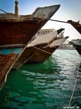 Dhows (ships) lined up on the docks