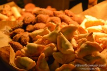 Up-close and personal with spinach and pine nut samosas