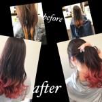 名古屋塩釜口でアプリコットオレンジからのレッドグラデーションデザインカラー【まゆなさん】の髪色