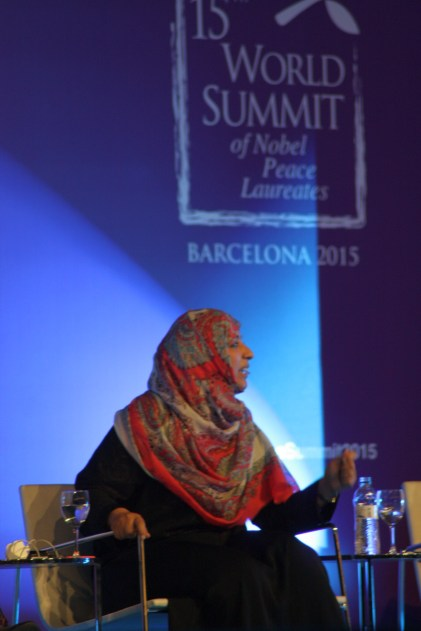 Nobel Peace Laureate Tawakkol Karman on stage