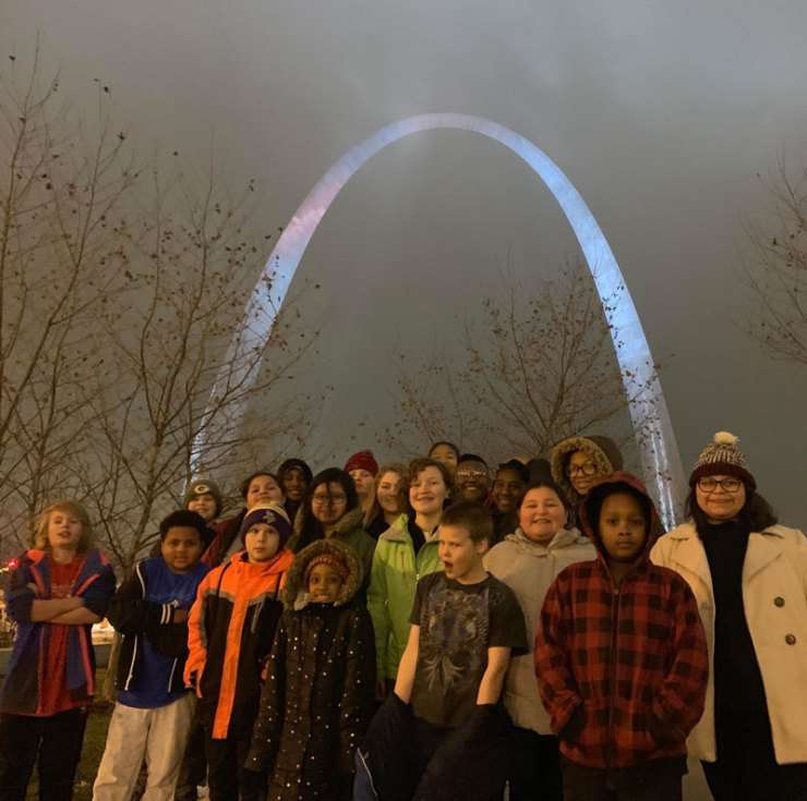 The Youth Art Team's lead team at the Gateway Arch in St. Louis.