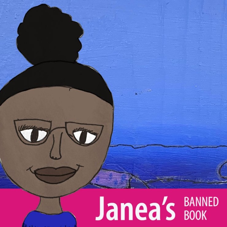 Janea inviting you to look at her banned book poster.