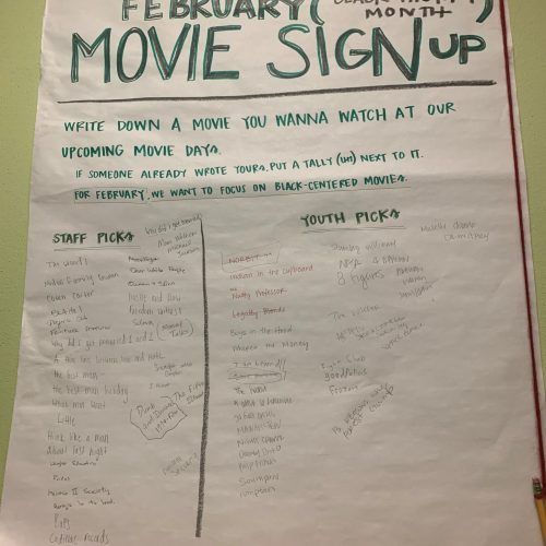Poster with movies listed