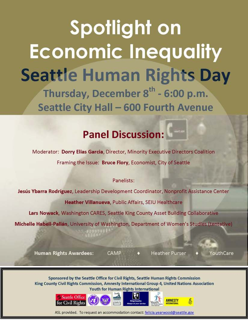 Seattle Human Rights Day poster