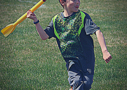 Track and Field class for kids. A student about to throw a javelin.
