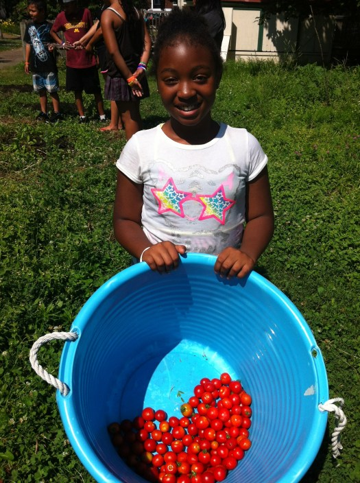 Jordan showing off our first harvest of grape tomatoes