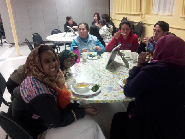 Hodan and friends enjoy the food and a break from cooking