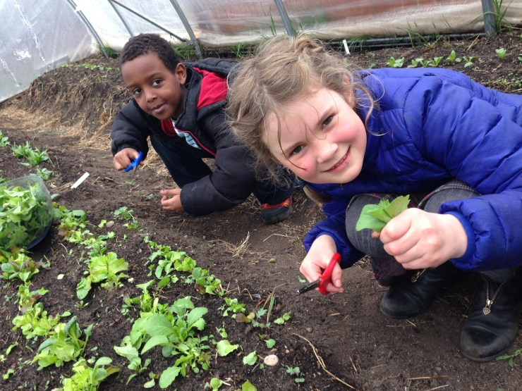 Jama and Brynn with 2014's first harvest!