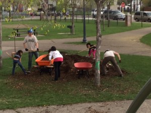 Conservation Corps and Green Central families helped us spread out woodchips