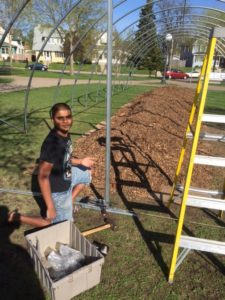 Long time Youth Farmer Javed is excited to have a garden just a block from his home