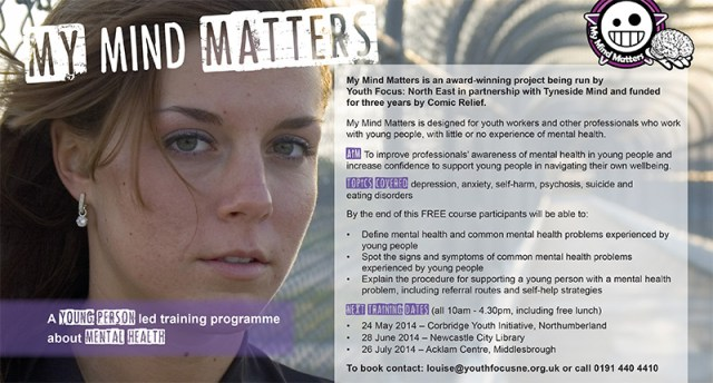 New training dates for My Mind Matters - Youth Focus: North East