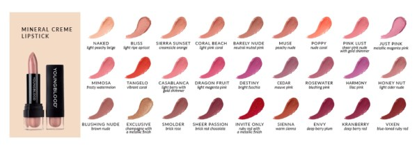 Youngblood Lipstick colours
