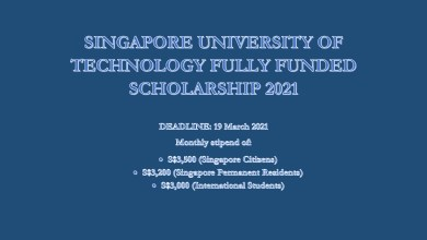Photo of SINGAPORE UNIVERSITY OF TECHNOLOGY FULLY FUNDED SCHOLARSHIP 2021