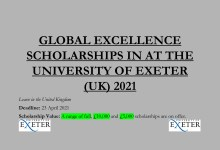 Photo of GLOBAL EXCELLENCE SCHOLARSHIPS IN AT THE UNIVERSITY OF EXETER (UK) 2021