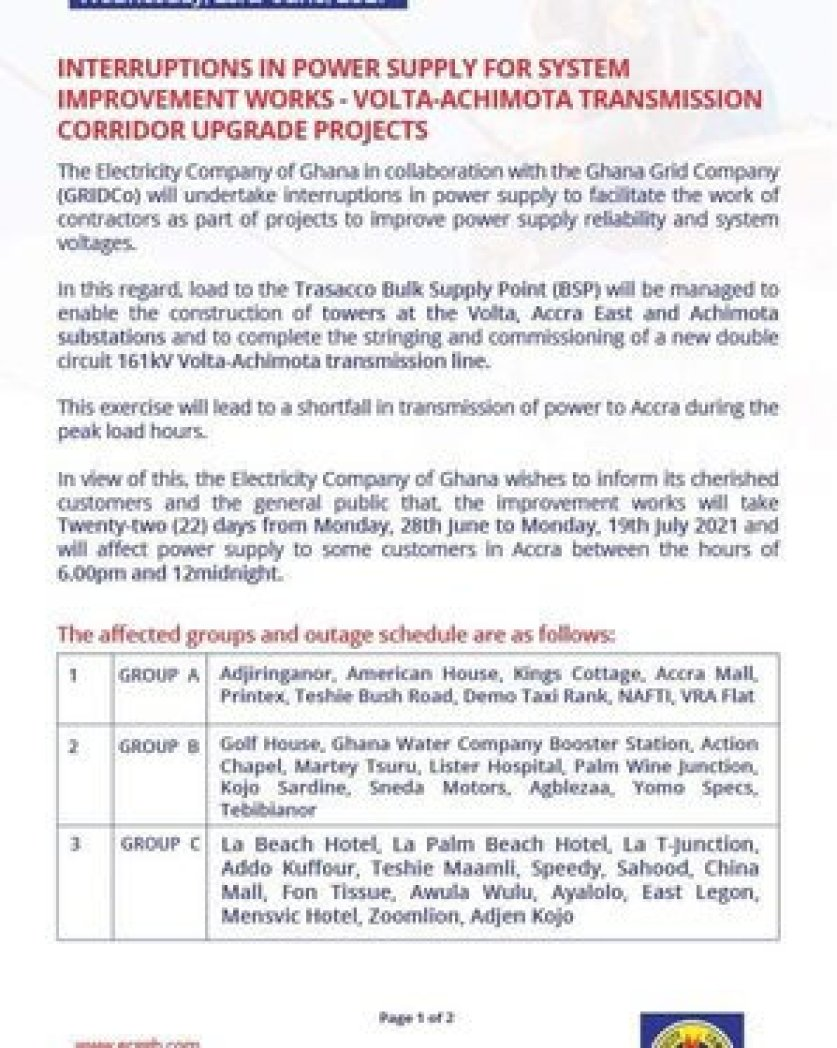 Accra ECG announces 22-day 'dumsor' timetable