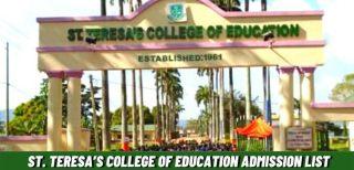 St. Teresa's College Of Education Admission List