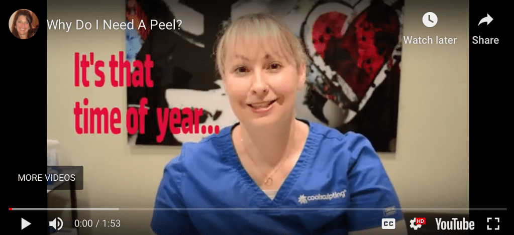 Woman in blue scrubs at the #1 Med Spa Alpharetta talking about why you need a peel