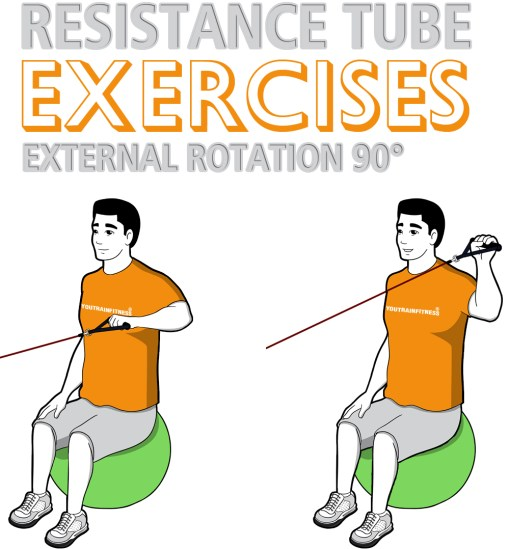 Resistance Tube Stability Ball Shoulder External Rotation at 90 Abduction