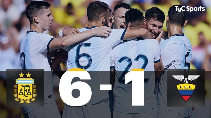Argentina 6-1 Ecuador (Amistoso Internacional – RESUMEN Y GOLES)