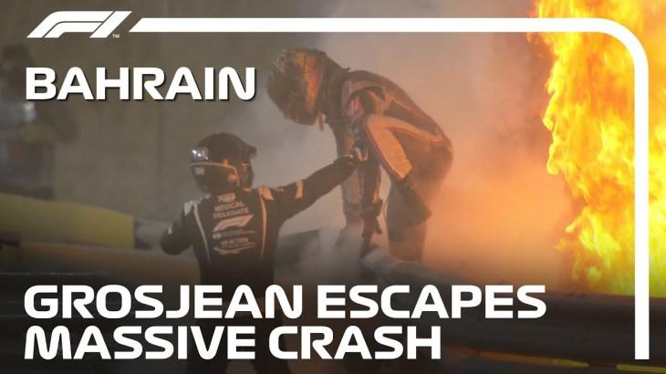 Romain Grosjean Walks Away From Dramatic, Fiery Crash | 2020 Bahrain Grand Prix