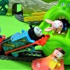 Thomas and Doraemon clash Slimer and help Nobita!Angry Slimer!for kids!yupyon