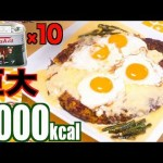 [木下ゆうか]【MUKBANG】 Easy Giant Hamburger Steak Using 10 Corned Beef!!! [6000kcal] [CC Available]