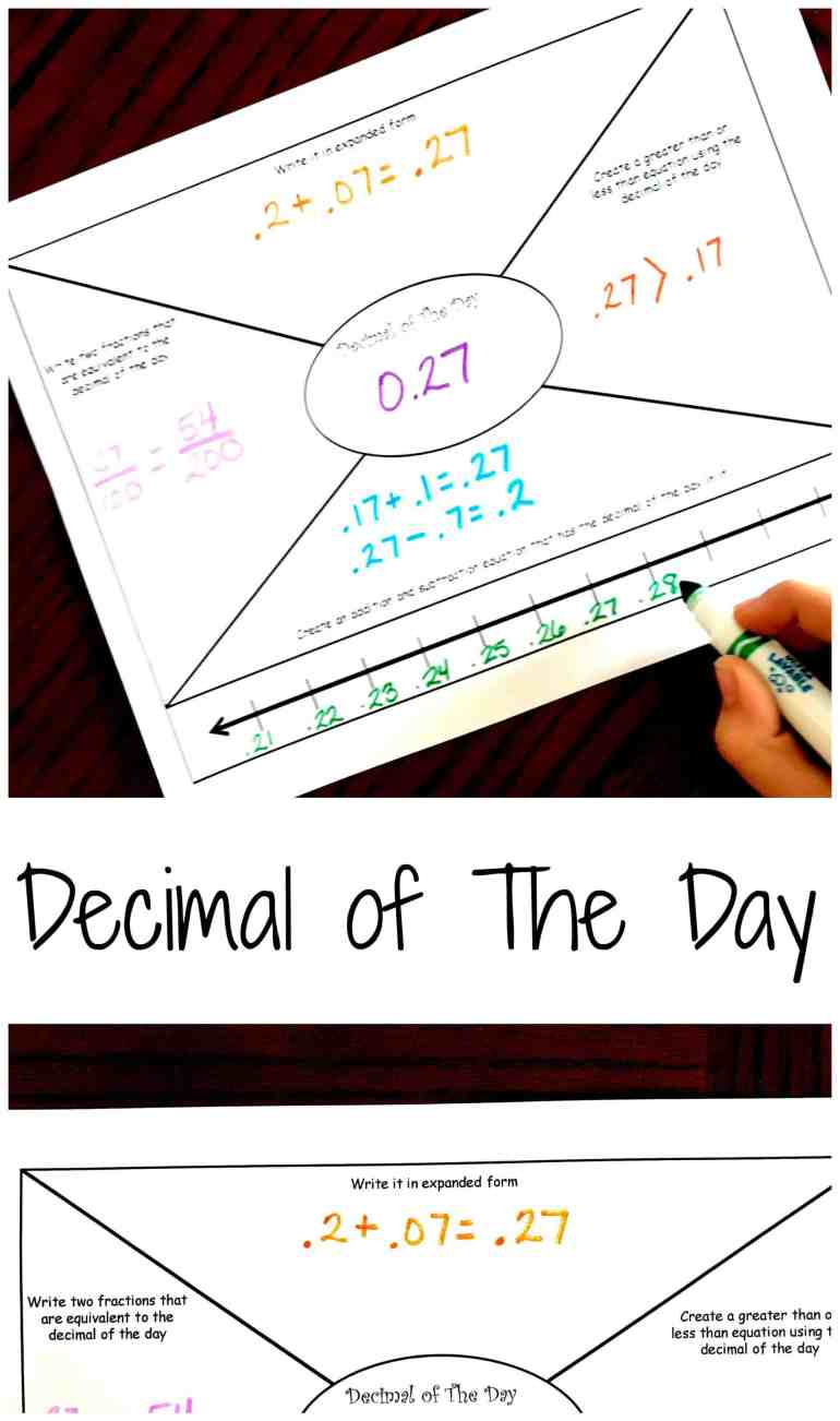 Daily practice is a great way to learn decimals and this decimal of the day sheet is the perfect way for quick review. And it is FREE.