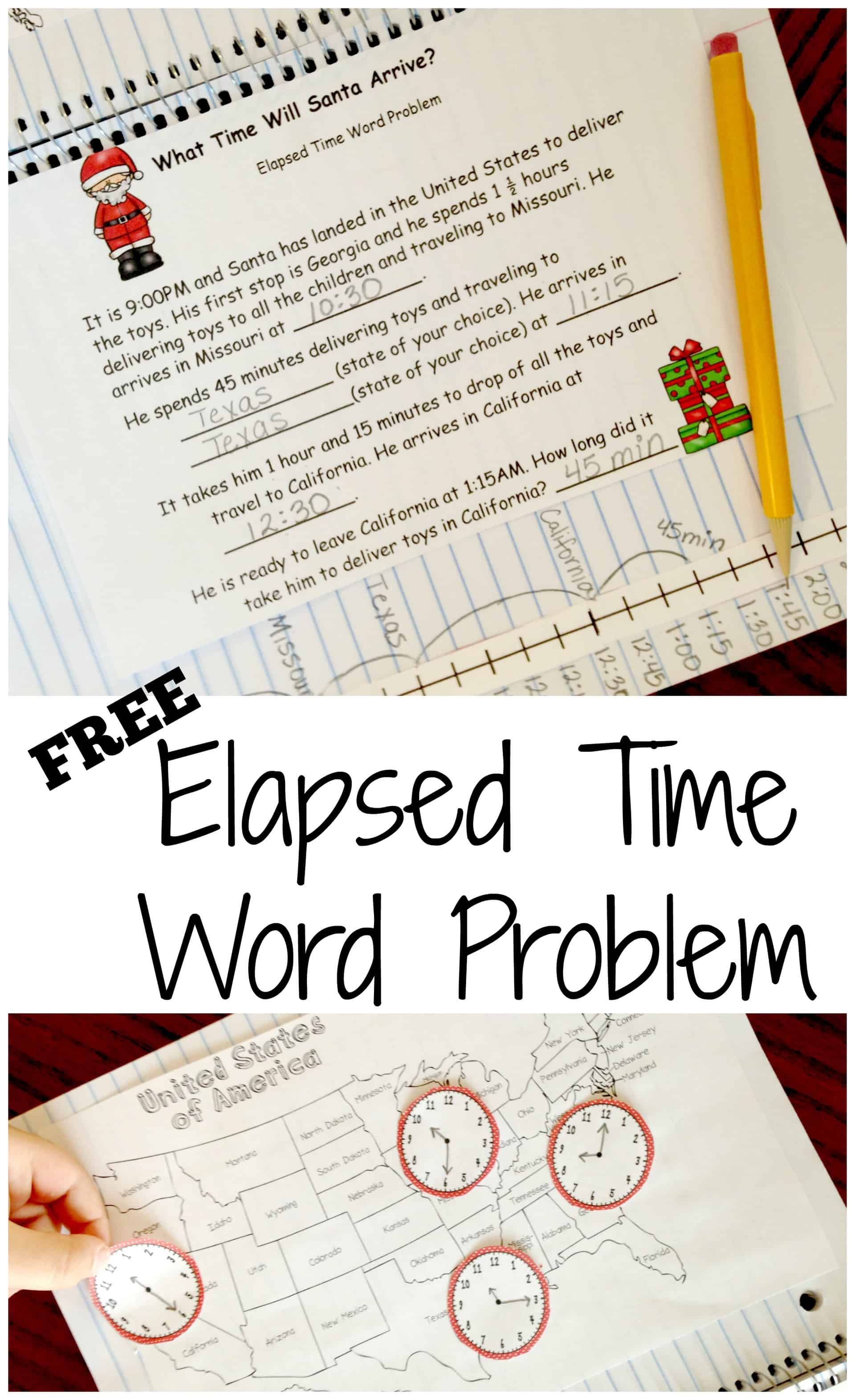 medium resolution of Here's A FREE Elapsed Time Word Problem with a Christmas Twist