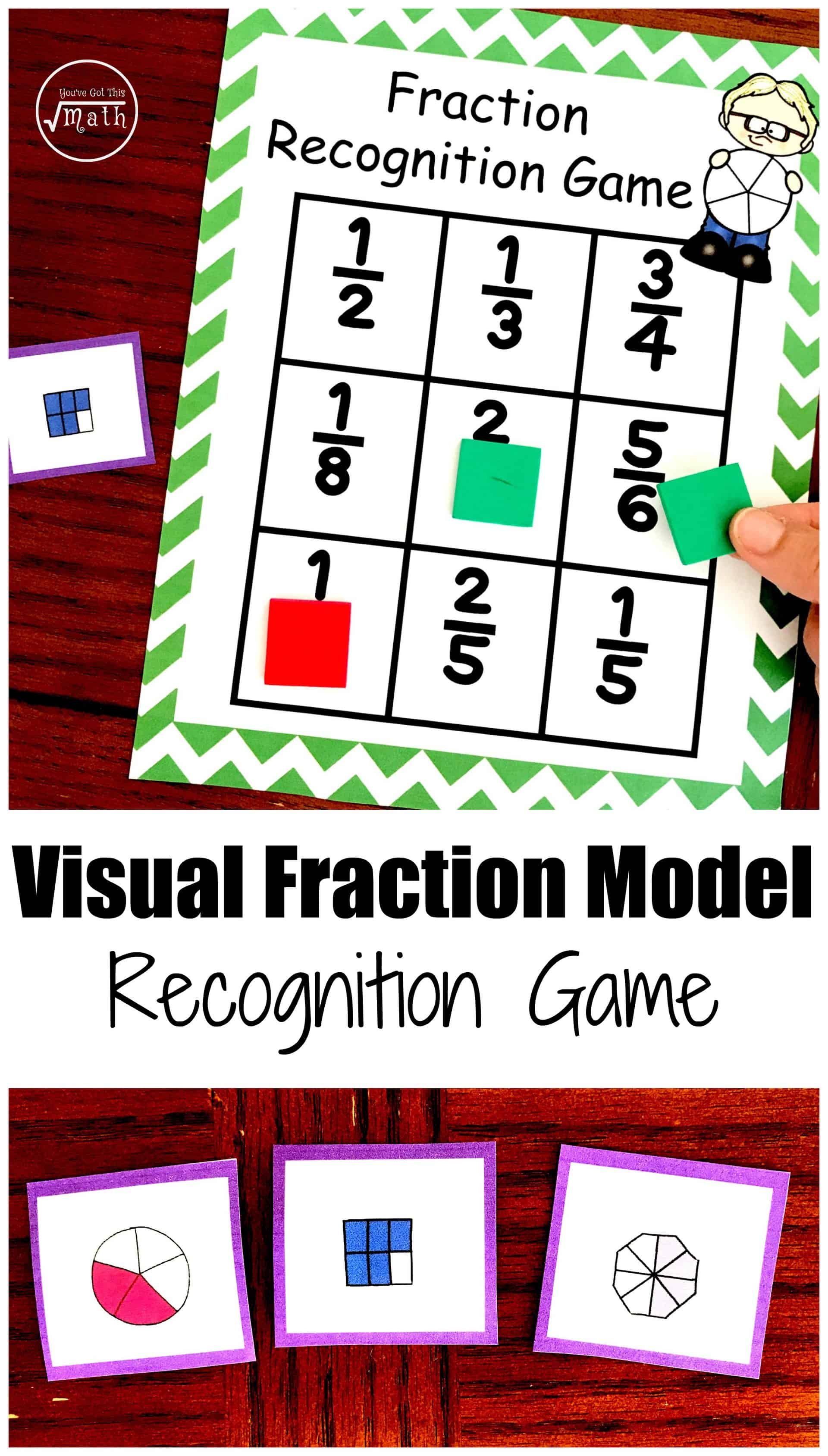 Visual Fraction Models are a great way to introduce children to fractions. This fraction game helps children recognize fractions and this visual model.
