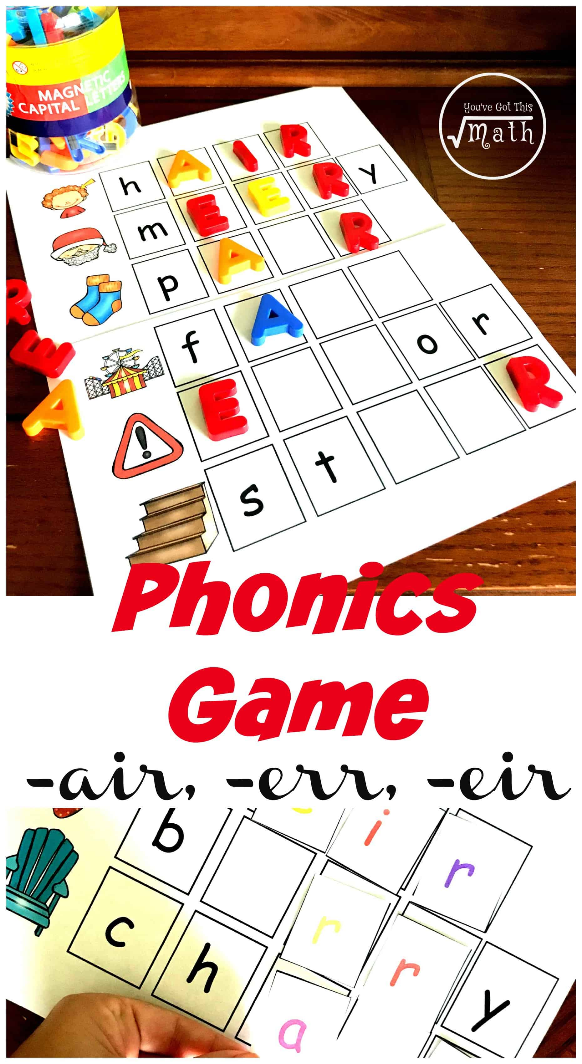 Are you working on air phonics skills? This game helps children build err, eir and air words in this fun fill in the blank activity.