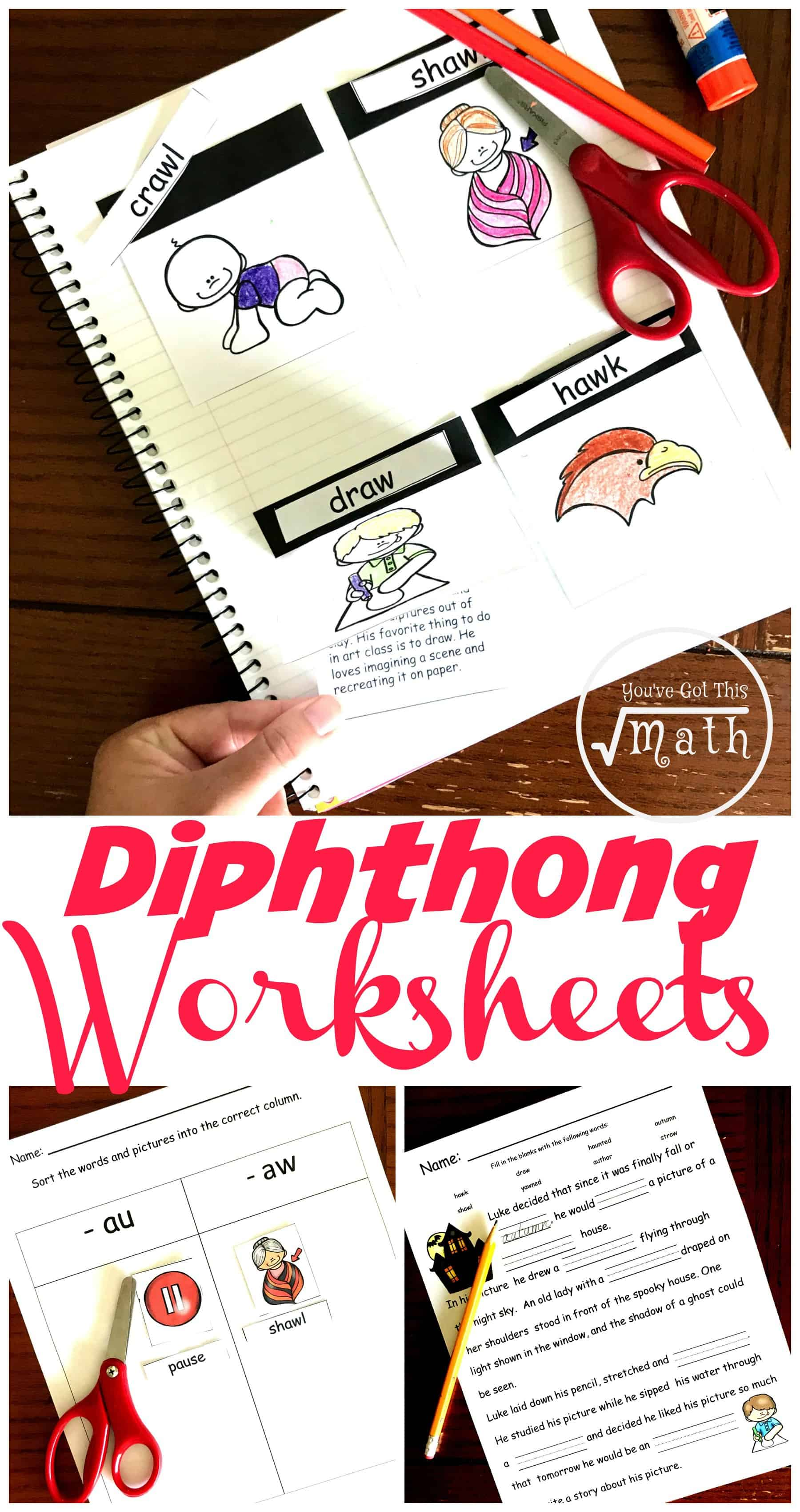 FREE Hands-On Diphthongs Worksheet for \au\ and \aw\ [ 3400 x 1800 Pixel ]