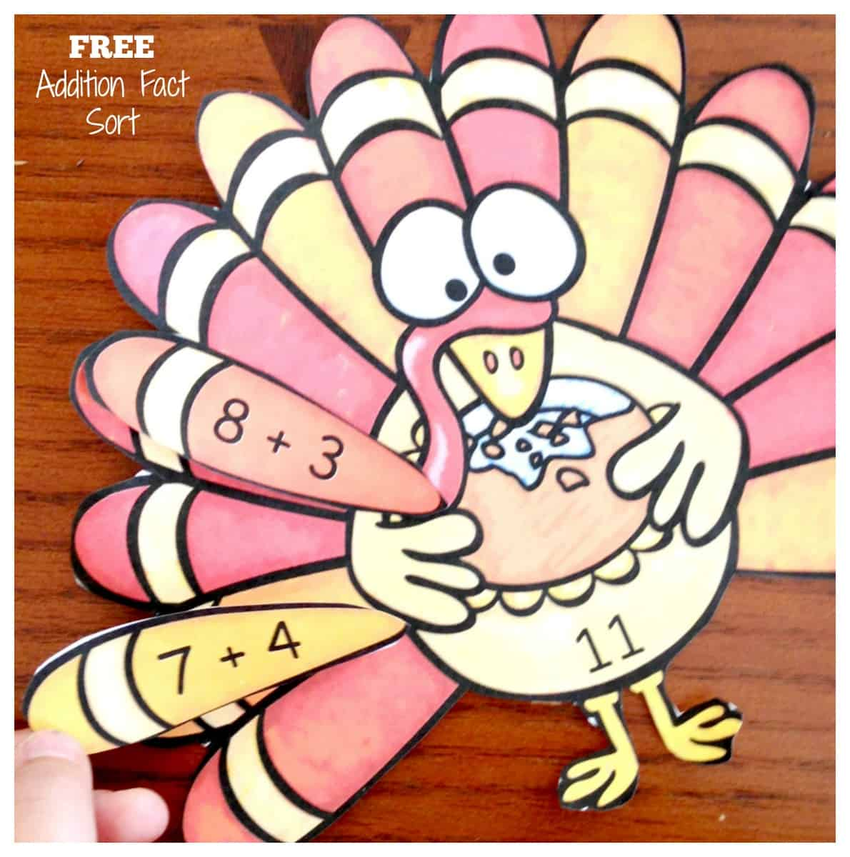 How To Memorize Addition Facts with Fun Turkey Expression Match