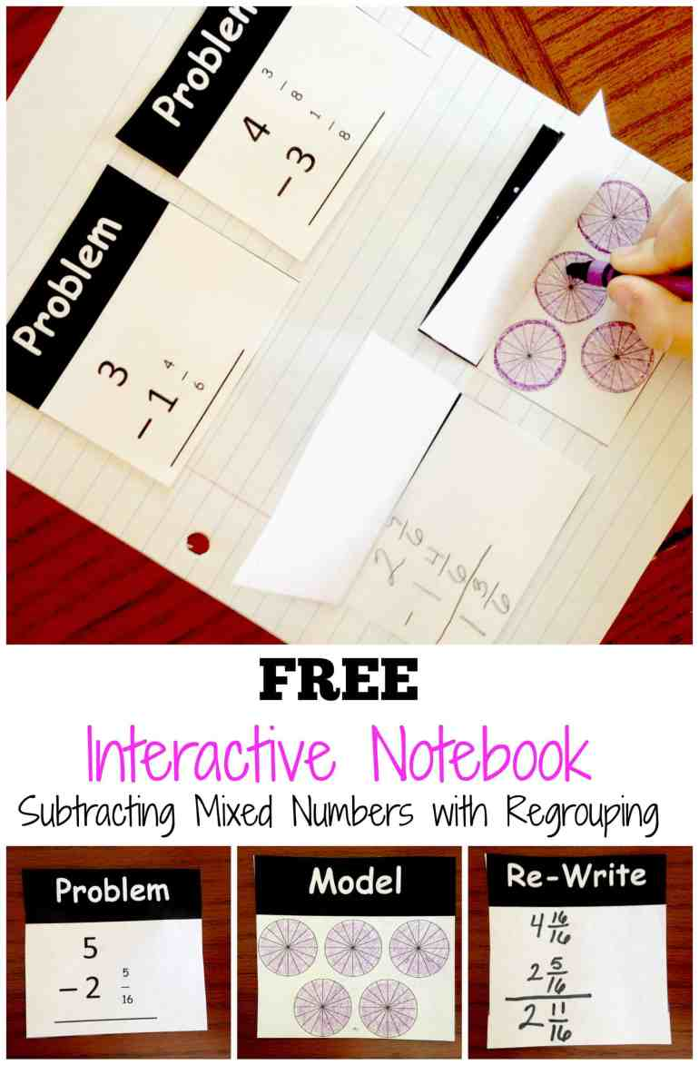 subtracting-mixed-numbers-with-regrouping-pinterest