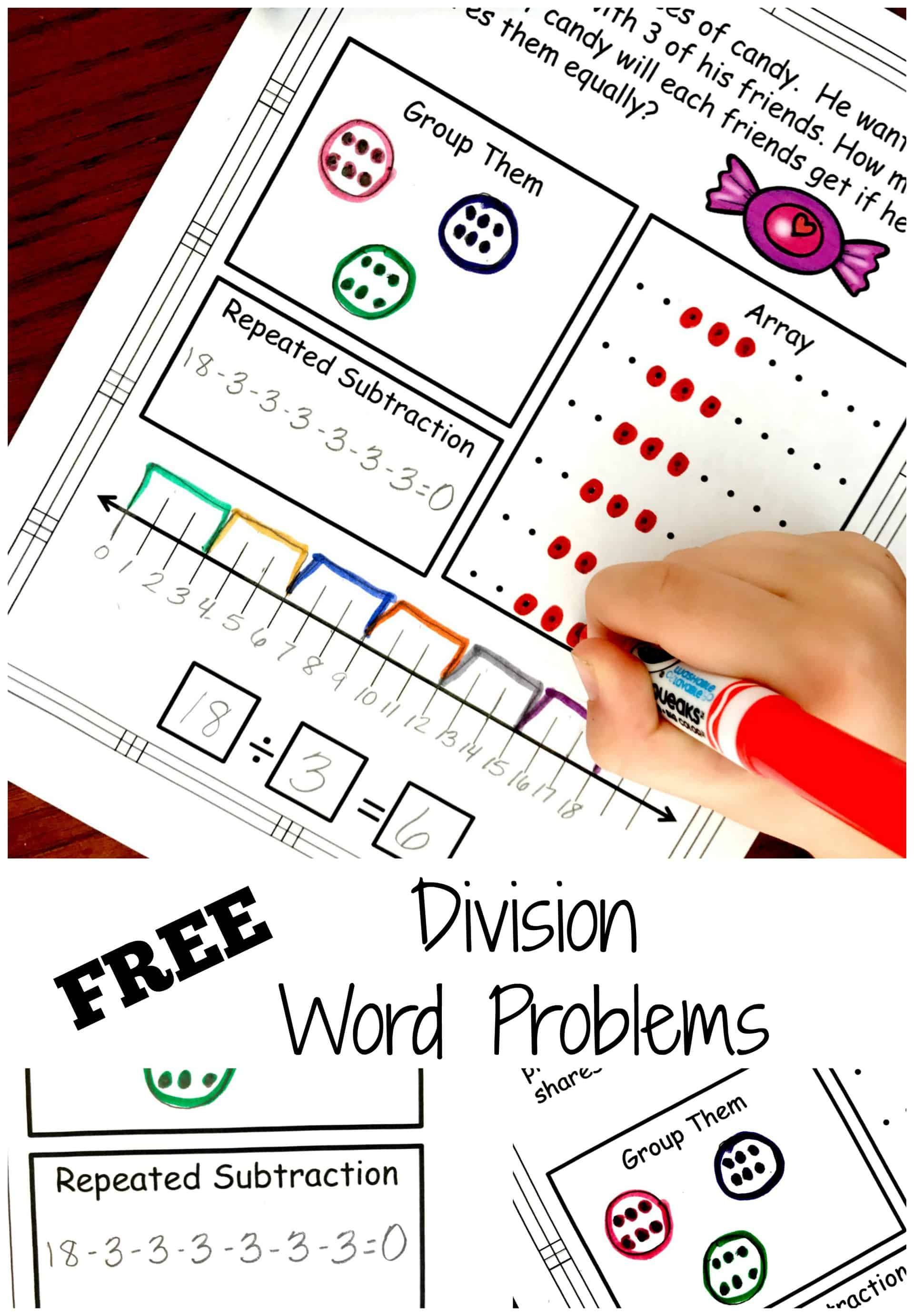 Division Problem Solving with Five Ways to Solve...FREE Worksheets [ 3250 x 2259 Pixel ]