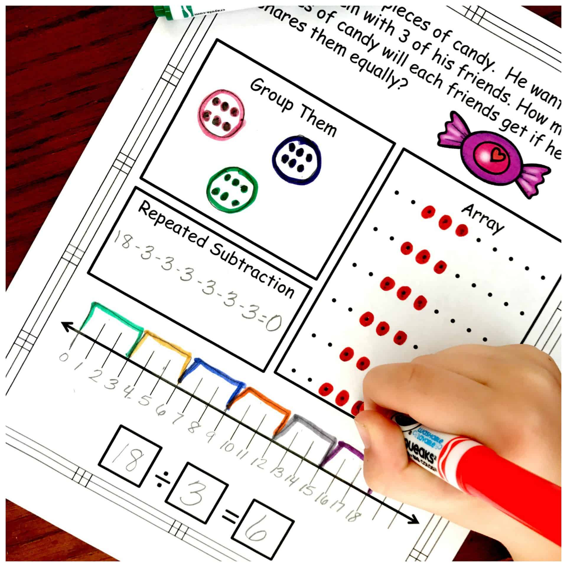 Division Problem Solving with Five Ways to Solve...FREE Worksheets [ 2000 x 2000 Pixel ]