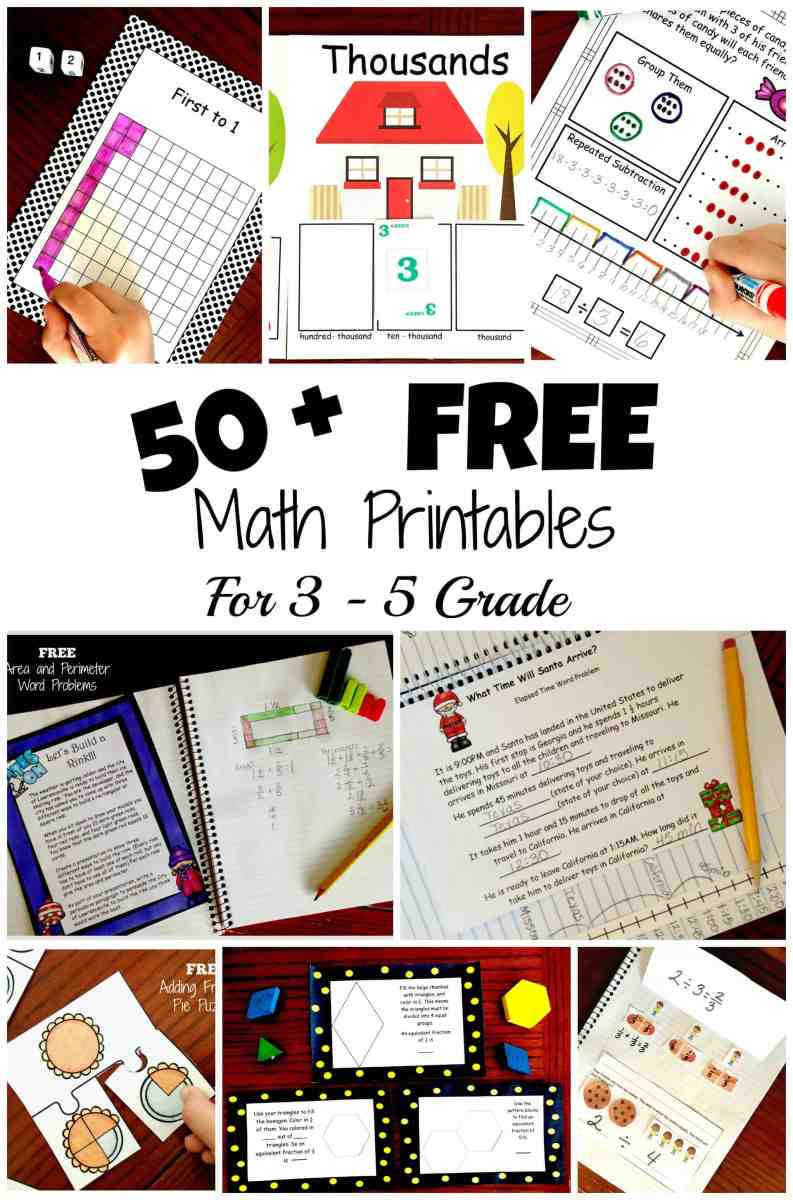 50 Free, Hands-On, and Fun Math Activities for 3rd, 4th, and 5th Grade Students