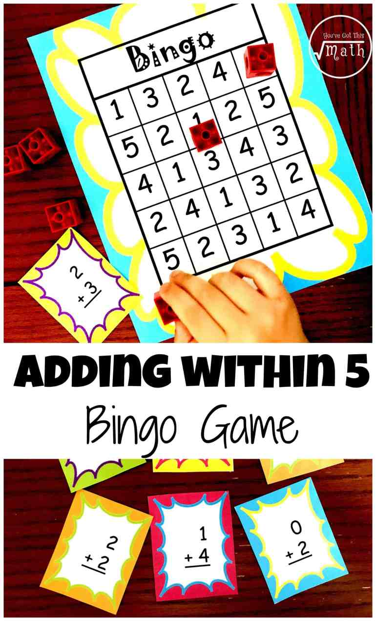 Here\'s A FREE Bingo Game to Help Children Practice Adding Within Five